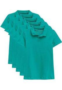 Kit De 5 Camisas Polo Femininas Verde