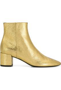 Saint Laurent Ankle Boot De Couro - Dourado