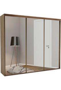 Guarda-Roupa Casal 2,27Cm 3 Portas C/ Espelho Luminum Fosco-Belmax - Ebano