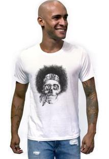 Camiseta Joss Caveira Black Power Masculina - Masculino-Branco