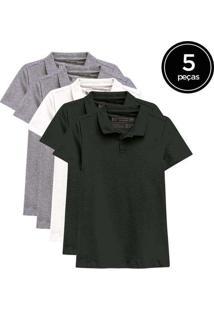 Kit De 5 Camisas Polo Femininas De Várias Cores Ci