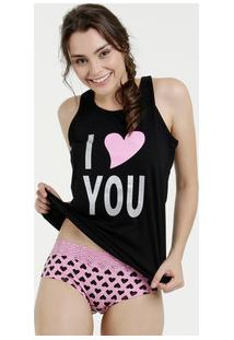 Pijama Feminino Baby Doll Estampa Frontal Nadador Marisa