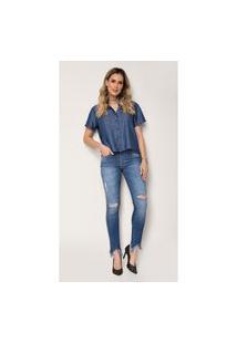 Calça Skinny Jeans Zait Feminina Begonia Azul