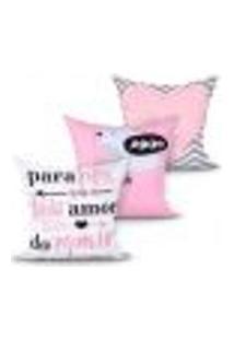 Jogo Capa Almofada Para Quarto Rosa Estampada Decorativa Kit Com 3 Unidades 45Cm X 45Cm Com Zíper