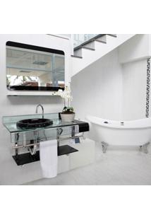 Gabinete De Vidro Estilo Chopin Preto 90 Cm Para Banheiro
