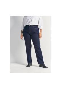 Calça Reta Jeans Sem Estampa Curve & Plus Size | Ashua Curve E Plus Size | Azul | 46