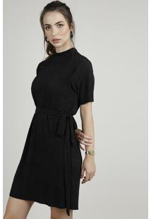 Vestido Feminino Curto Plissado Manga Curta Com Faixa Para Amarrar Preto