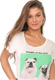 Camiseta Polo Wear Reta Couple Of The Year Off-White - Off White - Feminino - Viscose - Dafiti