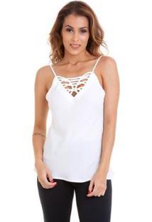 Blusa Kinara Alcinha Trançado No Busto - Feminino-Branco