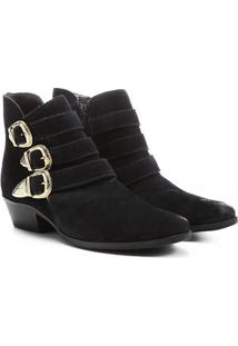 Bota Couro Cano Curto Shoestock Fivelas - Feminino