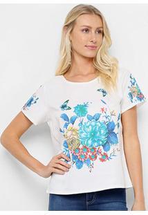 Blusa Allexia Floral Feminina - Feminino-Branco+Azul