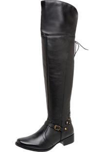 6ea41d921 ... Bota Tchwm Shoes Montaria Dara Over Knee Couro Preto