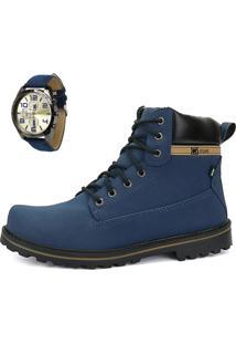 Bota Coturno Casual Cr Shoes Cano Médio Azul Com Relógio