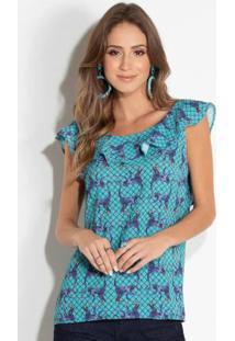 Blusa Preto E Azul Quintess Com Babado No Decote