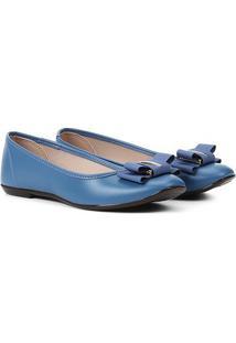 Sapatilha Moleca Bico Quadrado Laço Feminina - Feminino-Azul