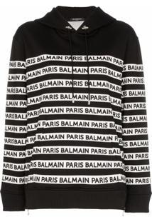 Balmain Blusa De Moletom Com Estampa De Logo - Preto