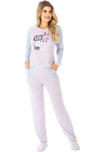 Conjunto Pijama Victory Inverno Pv Feminino - Feminino-Azul