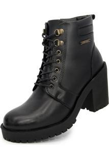 Bota Ankle Boot Salto Médio Sapatofranca Casual Fashion Possui Cadarço Preto - Kanui