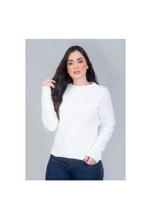 Blusa Charme Tricot Mousse Com Nervura Branco