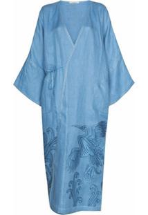 Vita Kin Vestido Envelope Dancing Heron Com Bordado - Azul