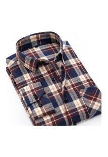 Camisa Xadrez Masculina Slim Fit Alabama - Vermelho E Navy
