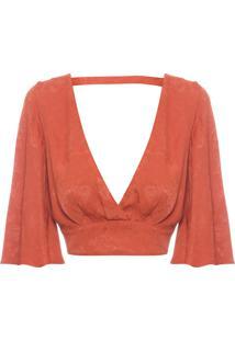 Blusa Feminina Cropped Decote Pregas - Laranja