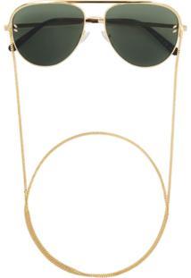 Stella Mccartney Eyewear Aviator Sunglasses With Chain - Dourado