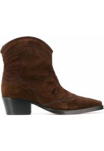 Ganni Ankle Boot Cowboy - Marrom