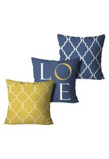 Kit 3 Capas Love Decor Para Almofadas Decorativas Love Multicolorido Amarelo