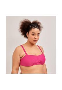 Biquíni Top Reto Com Franzido E Bojo Curve & Plus Size   Ashua Curve E Plus Size   Rosa   G