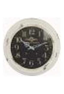 Relógio De Parede De Ferro Branco Com Fundo Preto