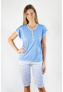 Pijama Regata Gislal Conforto Shorts Pescador Flores Feminino - Feminino-Azul+Branco
