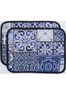 Kit De 2 Peã§As Jogo Americano Em Gobelino Mural 35X45 Cm - Azul/Azul Marinho/Branco - Dafiti
