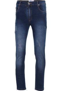 Calça Jeans Skinny Com Puídos Masculina Hamy