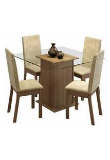 Conjunto Sala De Jantar Madesa Gabi Mesa Tampo De Vidro Com 4 Cadeiras Rustic/Imperial Rustic/Imperial