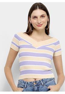 Blusa Allexia Manga Curta Bicolor Canelada Feminina - Feminino-Bege+Roxo