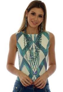 Regata Feminina Estampa Geométrica Exclusiva Com Penas De Pavão Decote Canoa - Feminino-Azul