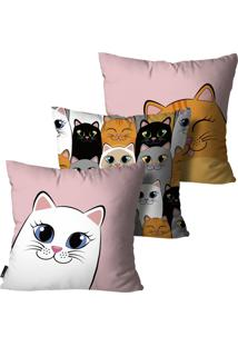 Kit Mdecore Com 3 Capas Para Almofada Infantil Gato Colorido 35X35Cm
