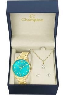Kit Relógio Champion Feminino Elegance - Cn26206Y - Feminino-Dourado