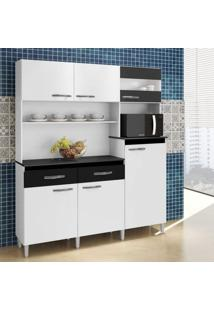 Armário De Cozinha 6 Portas 2 Gavetas Arte Móveis Branco/Preto