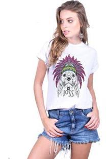 Camiseta Joss Estampada Dog Feminina - Feminino-Branco