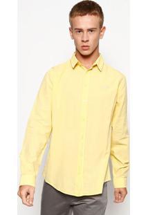 Camisa Slim Manga Longa- Amarela- Colccicolcci