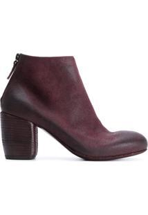 Marsèll Ankle Boot De Couro E Camurça - Vermelho