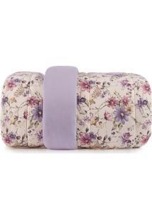 Edredom Floral Em Malha Queen Size- Lilã¡S & Bege Claro