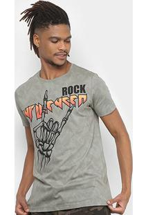 Camiseta Sideway Full Print Caveira Hangloose Masculina - Masculino-Cáqui