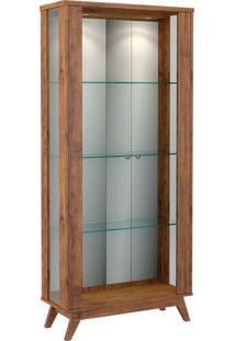 Cristaleira Retrô Espelhada C/ 2 Portas Vidro E Led Castanho Dalla Costa