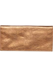 Carteira Couro Fiveblu Metalizada Dourada