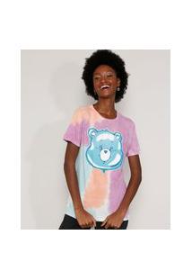 Camiseta Feminina Estampada Tie Dye Manga Curta Ursinhos Carinhosos Decote Redondo Multicor