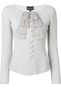 Emporio Armani Fitted Ruffle Detail Jacket - Cinza