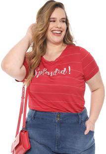 Blusa Cativa Plus Listrada Paetês Vermelha